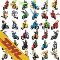 Wholesale 36 Mix Order Minifigures with Motorcycle Ninja Turtles Super Heroes Nexo Knights Ninjago Chima Minifigure Building Blocks Toy