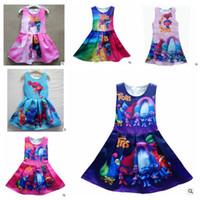 beach party clothes - baby Girls Trolls Cute Dress Party Holiday Casual Princess Dress Trolls Summer Sleeveless Kids Beach Clothing Dresses design KKA1142