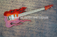 Wholesale Double flame electric guitar F gold factory and retail high quality electric guitar