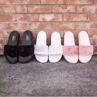 best slipper brand - Best Selling Brand New Rihanna Fenty Leadcat Fur Slides Pink Black White Slide Sandal Womens Slippers retail