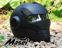 Wholesale automic man DOT Ironman helmet motorcycle motorbike Iron man Masei open face factory black