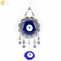 big pendulum - CSJA Turkish Big Blue Evil Eye Sun Flower Pendants Islam Muslim Home Hanging Pendulum Healing Religious Charms Jewellery God Gifts E289