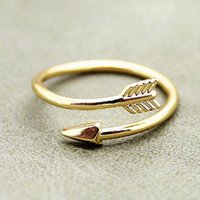 arrow shops - 2016 Punk Adjustable Real Gold Plated Ring Vintage Arrow Wrap Rings Women Men Jewelry Free Shopping
