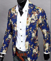 Wholesale Men in Europe and the us business English new fashion boutique personality floral cotton and linen jackets M XL