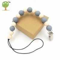Wholesale natural grey wooden beads Baby Pacifier Clips Baby Toy Pacifier dummy Holder Chain personalised new born gift NT183