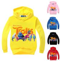 Wholesale Newest Multicolor Cartoon Trolls Children Hoodie Long Sleeved T Shirt Baby Boys Girls Cotton T Shirt Kids Tops Sports Tees Sweat