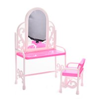 bedroom set dresser - 1 Set Fancy Classical Dresser Table Chair Kids Girls Play House Bedroom Toy Girls Accessories For Barbie Doll Furniture