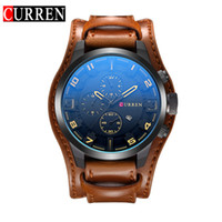 Wholesale 2017 New Watch Curren Brand with Date Display Leather Strap Quartz Big Face mm Men Watches Military Watch Wrist Male Clock