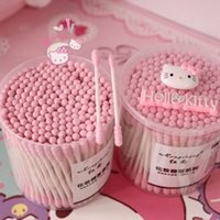 Wholesale pack Pink Kitty Disposable Cotton Swab Double Head Ended Clean Cotton Buds Medical Health Make Up Beauty Ear Clean Tools