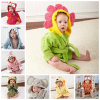 baby robes - Kids Animal Bathrobe Toddler Girl Boy Baby Cartoon Pattern Towel Hooded Bath Towel Terry Wrap Bath Robes Swaddle Blanket Washcloths F202