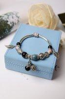 Wholesale DIY Style Bracelet Miss Pan style blue sand and gravel crown ceramic leaves single circle bracelet bracelet