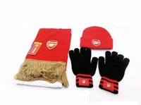 Wholesale 3pcs unit European Football Club Knitting wool Hat Scarve Gloves Set Winter Outdoor sport Knitted Scarf soccer Fans souvenirs