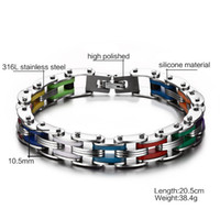 Wholesale Stainless Steel Man s Bracelets High Polished Multicolour Bicycle Chain Charm Top Quality Personalized Man Fashion Jewelry Accessories BC