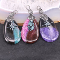 agate slab - 5pcs Mix Color Agate Druzy Pendant Smooth Slab Pendant Pave Crystal Zircon Gemstone Charm Jewelry Necklace Pendant