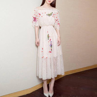 Wholesale Prom Dress Socialite Horn Sleeve Lace Embroidery Off the shoulder Cultivate One s Morality Princess Dress Five Minutes Long Sleeve Skirt