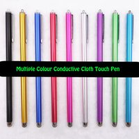 Wholesale Can Change Head Conductive Cloth Touch Screen Stylus Pen for IPhone IPad IPod Touch Suit for Universal Smart Phone Tablet PC Pen