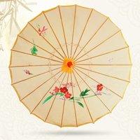 al por mayor precios de fábrica flores de seda-Fábrica de bajo precio Popular estilo chino Nueva llegada de la boda de la fiesta de bambú paraguas flor de seda paño de la vendimia Paraguas paraguas bambú paraguas