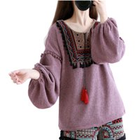 Wholesale Autumn and winter original national wind retro embroidered lanterns short sleeve fringed sweater sweater women MUCH
