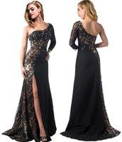 Wholesale 100 Actual Pictures Long Black Evening Dresses Lace Applique One Shoulder High Side Split Floor Length Formal Evening Party Gowns