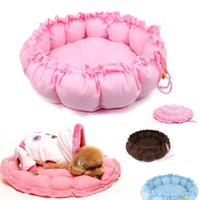 Wholesale Cashmere like soft Warm Pet Cat Dog Beds Kennels Expandable Shrinkable Nest luxury Dog bed round