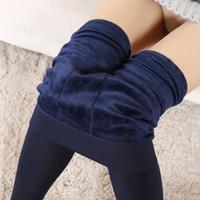 Wholesale 8 Colors Winter Women Warm Leggings Elastic High Waist Plus Velvet Faux Thick Slim Stretch Thick Trousers Female leggings for women