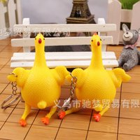 Wholesale Spoof of creative toys Funny chicken key chain crowded egg hell out of layers funny antistress toy