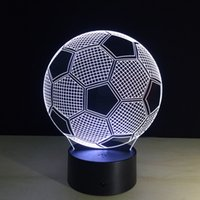 Wholesale Seven Colors Changing Soccer Ball Light Football D Visual Led Night Light USB Novelty Table Lamps as Home Decor Besides Lampara