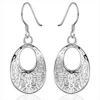 Wholesale 2016 hot new hollow drop earrings for women fashion oval retro sliver plate dangle earrings female jewelry flower pattern