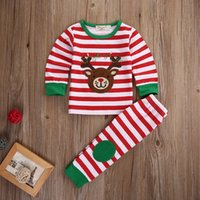 bear deer shirt - 2Pcs Kids Boys Girls Bear Deer Christmas Outfit Set Children Kid Cartoon Stripe Cartoon T shirt Stripe Pants Tracksuit Clothes