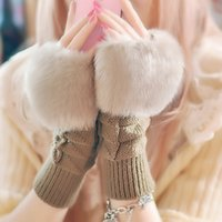 Wholesale Gloves femaleCute lady gloves in autumn and winter Korean version refers to the warm imitation rabbit hair half finger gloves
