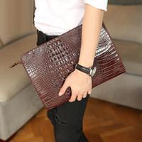 2017 Borsa in pelle delle donne degli uomini di moda del grano del coccodrillo degli uomini borsa delle donne di frizione della busta da sera femminile Frizioni pacchetto di trasporto