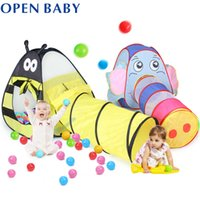 baby play tunnel - Cute Baby Play Tent Children Play House For Kids Room Easy Folding Baby Toy Tent with Tunnel Easy Open Fold colors