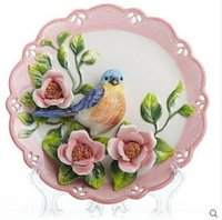 Wholesale Blue Magpie decorative wall dishes porcelain decorative plates vintage home decro crafts room decoration gift figurine