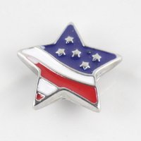 Wholesale 10PCS silver enamel american flag ginger snap button jewelry for mm button snap metal bracelet necklace