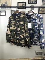 Wholesale M1714 Luxury Mon Brand reversibl desige men spring autumn Camouflage jacket men zipper pocket High Quality Plus Size Man casual parka Hooded