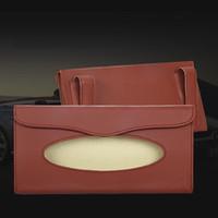Wholesale Automobiles Interior Accessories Stowing Tidying Car Tissue Box Leather Auto Car Sun Visor Tissue Box Paper Holder Clip