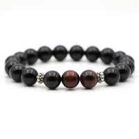 Wholesale New Designer MM Black Onyx Natural Stone Men Bead Strand Wrap Bracelet Male High Grade Red Tiger Eye Handmade Jewelry Gift
