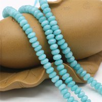 abacus charm - 2x4mm HOT Skyblue Aquarine Blue Accessories Crafts Loose Beads Abacus Jasper Jade Stone Faceted Jewelry Making Design inch