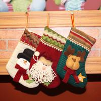 Wholesale New Arrive Mini Christmas Stockings Socks Santa Claus Candy Gift Bag Xmas Tree Decor Festival Party Ornament
