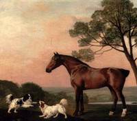 bay life - Stubbs George A Bay Hunter With Two Spaniels horse dogs Pure Handpainted Art oil Painting On Canvas Museum Quality custom size zhongguo