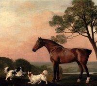 Stubbs, George - Un cazador de la bahía con dos caballos de los perros, perros, Pintura al óleo pintada a mano pura del arte en la lona Museo Calidad, tamaño de encargo, zhongguo
