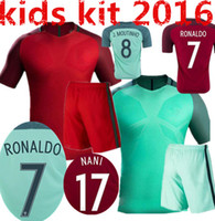 Wholesale New Portugal kids Jersey European Cup Portugal Flgo Ronaldo Nanl Red Light Green Away Home Jerseys