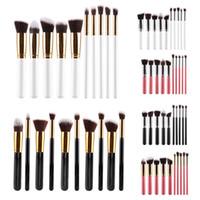 Wholesale 10pcs Kabuki Makeup Brushes Professional Cosmetic Brush Kit Nylon Hair Wood Handle Eyeshadow Foundation Tools