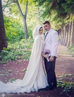 Wholesale Arabic Muslim Long Bridal Wraps Jackets White Soft Satin Cloak Capes for Wedding Dress Floor Length In Stock