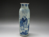 antique wooden figures - China Blue and white porcelain Wooden club shape old Vase Painted figure Scenery