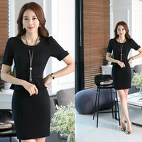 Wholesale 2017 vogue style plus size women business wear summer formal suit femme short sleeve bodycon work dress uniform for office lady work wear