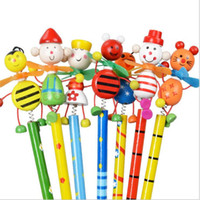 Wholesale Novelty products Lovely animal puppet spring windmill various style HB wooden pencil
