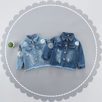 Wholesale Girls Embroidery Flower Denim Jacket Coats with Fray Edge Kids Spring Fall Clothing for Boutique Fashion Little Girls Denim Outerwear