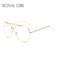 al por mayor vasos fresco al por mayor-Venta al por mayor-ROYAL GIRL mujeres gafas de sol marca clásica de metal Cool Sun Glasses claro lente de aleación piernas Eyeware SS931-1