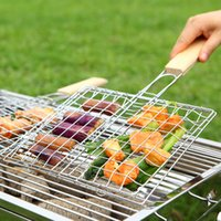 bbq fish grill basket - High Quality BBQ Grilling Basket Stainless Steel Removable Wooden Handle BBQ Wire Mesh Grilling BBQ Fish Grill Net Manufacture